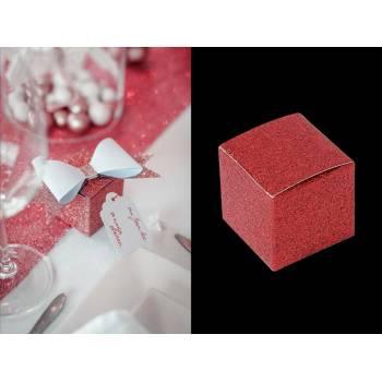 8 Mini Schachteln rot Glitzer