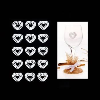 10 Herzen Spitze weiß aufkleber