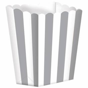 5 Schachteln Pop corn gestreift silber