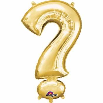 Mini Helium-Ballon Punkt Fragezeichen Gold