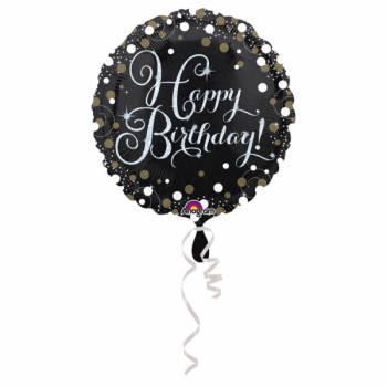 Helium-Ballon Happy Birthday sprudelnd Silber Gold