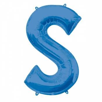 Mega Helium-Ballon Buchstabe S blau