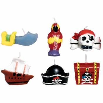 Kit 6 Piraten-Kerze für Kuchen