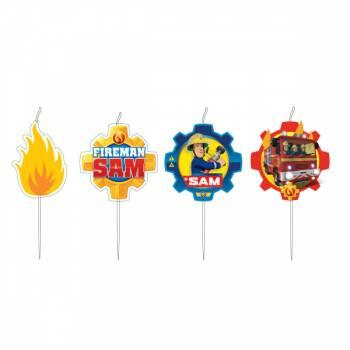4 Picknickkerzen Sam der Feuerwehrmann für Kuchen