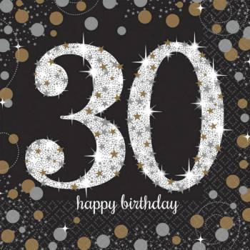 16 Glitzerhandtücher Silber Gold 30 Jahre