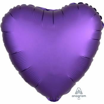 Helium Ballon Satin Luxus Purple Herz