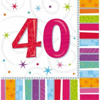 16 Servietten 40 Jahre Colorstars