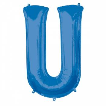 Mega Helium-Ballon Buchstabe U blau