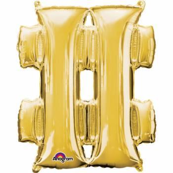 Mini Helium Ballon hashtag gold