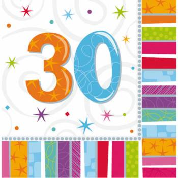 16 Servietten 30 Jahre Colorstars