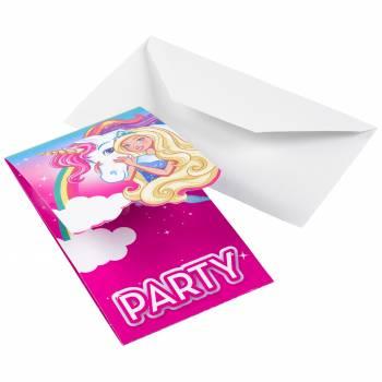 8 Einhorn Barbie Einladungen