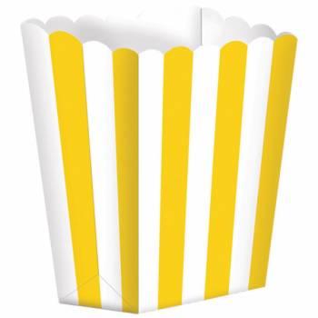 5 Pop Corn Gestreifte backförmchen gelb