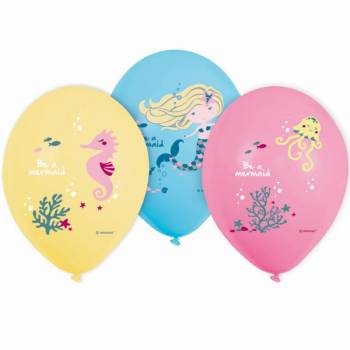 6 Latex Ballons Schöne Meerjungfrau