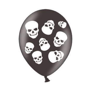 6 Ballons schwarzes Totenkopf