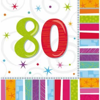 16 Servietten 80 Jahre Colorstars