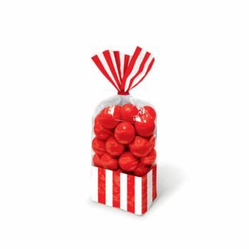 10 rote gestreifte Süßwarensäcke