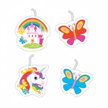 4 Rainbow EinhornKerzen