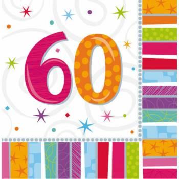 16 Servietten 60 Jahre Colorstars