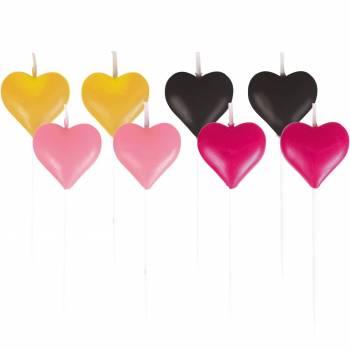 8 Mini-Herzen Kerzen für Kuchen