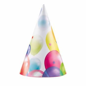 8 Partyhüte Ballons