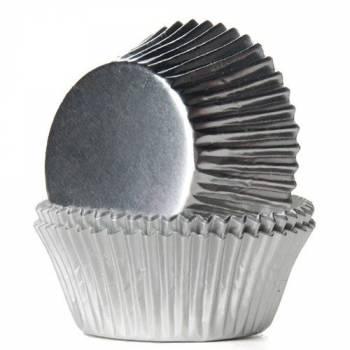 24 Cupcakes backförmchen Silber