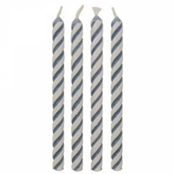 24 Kerze blau und weiß Streifen