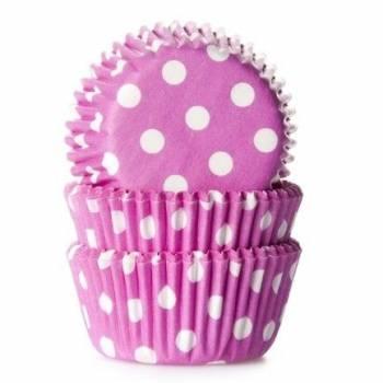 60 Mini-Cupcakes backförmchen fuschia gepunktet