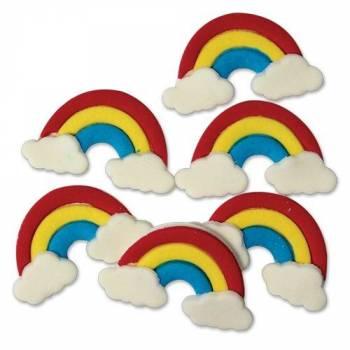 Mini-Figuren dekoriert Regenbogen aus Zucker