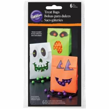 6 Halloween Papiertaschen mit Aufklebern