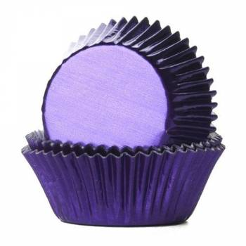 24 Schale Cupcakes lila Metall
