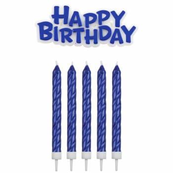 16 Kerze + 1 Happy birthday blau