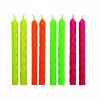 24 Neonfarbene Kerzen