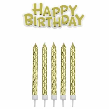 16 Kerze + 1 Happy birthday gold