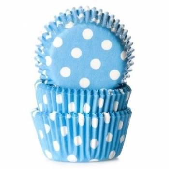 60 Mini-Cupcakes backförmchen blue gepunktet