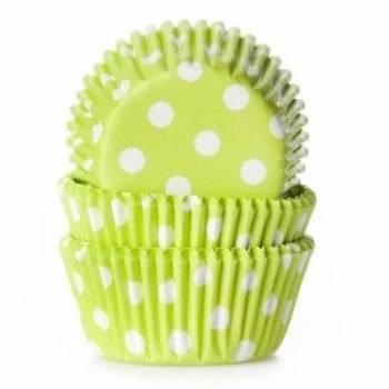 60 Mini-Cupcakes backförmchen grünen gepunktet