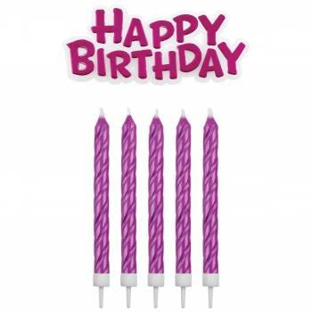 16 Kerze + 1 Happy birthday fuschia