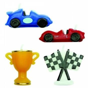 4 Kerze Thema Racing Cars