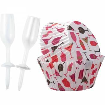 Kit backförmchen + deco cupcakes Champagne love