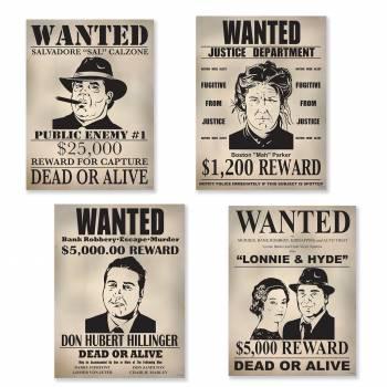 4 Wanted Gangster Wanddekoration