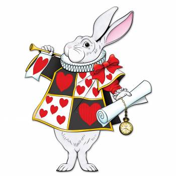Pappfigur weiße Kaninchen