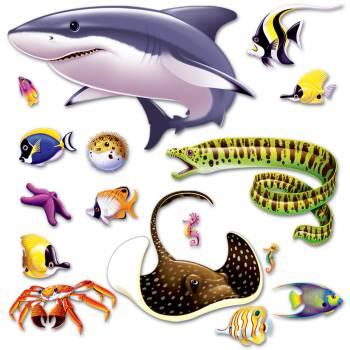 16 Wanddekorationen Exotische Fische