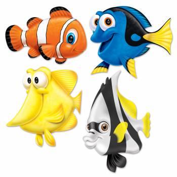 Sortiment 4 exotischen Fisch lustige Papp