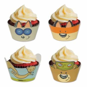 8 Wraps mit Cupcakes woodland friends
