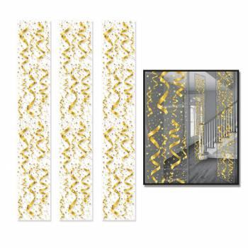 3 Gold-Serpentinen-Dekor auf Leinwand