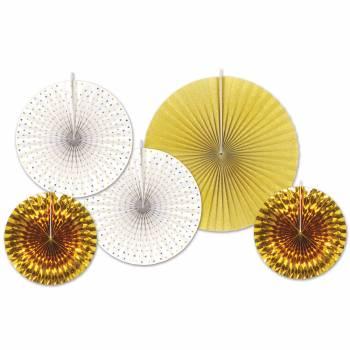 5 Raum Dekorationen Aufhängung Fächer Gold/Weiß