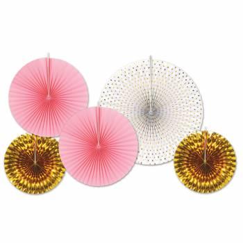 5 Aufhängungsdekorationen Fächer gold/rosa/weiß