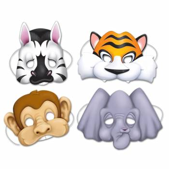 4 Tiermasken aus dem Dschungel