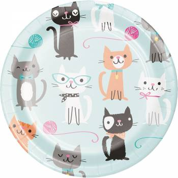 8 Dessert-Teller Katzen Ronrons