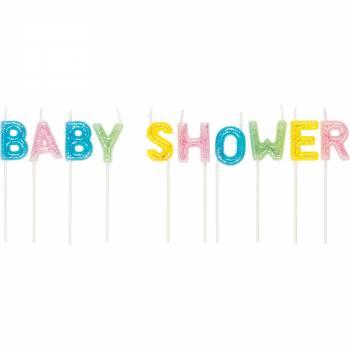 10 Glitzerkerzen Baby-Shower für Kuchen