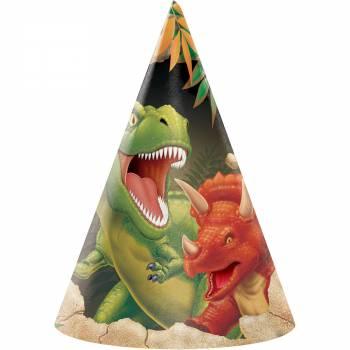 8 Dinosaurier Partyhüte